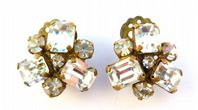 Vintage Art Deco Style Rhinestone Clip On Earrings.